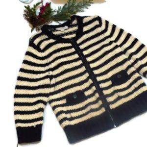 Loft Black & Cream Zip Up Sweater Cardigan Stripes